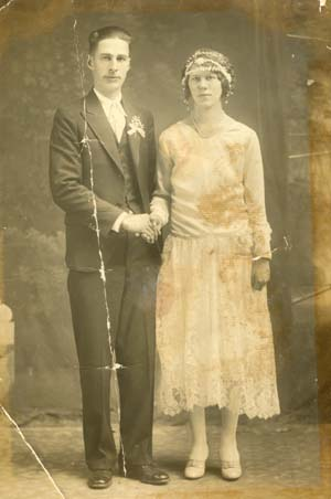 image of original old damaged wedding photo