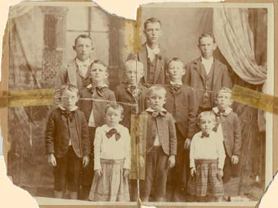 image of original old very damaged family group photo