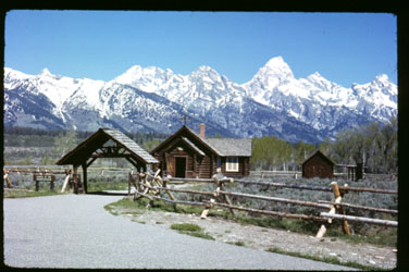 image of a 26 year old slide of chapel and mountians